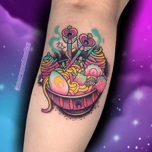 Ramen noodles tattoo by micromachinedee #micromachinedee #ramentattoos #ramennoodles #noodletattoo #foodtattoo #ramen #Japanese #newschool #sailormoon #egg #moon #color #forearm #arm