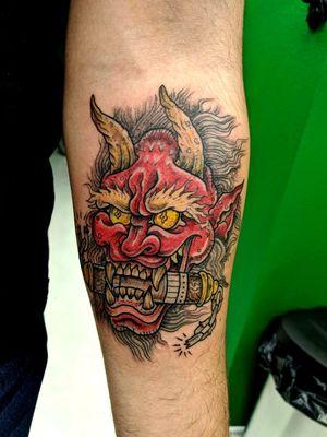 Oni tattoo on the forearm #japanesetattoo #japanesedemon #onidemon #hanyatattoo #jonboytattoos #laleyendatattooco #texastattooartist