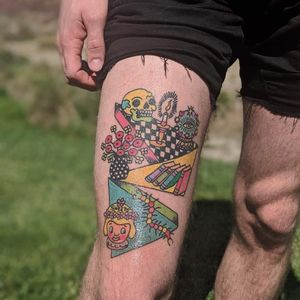 Psychedelic tattoo by Who aka whotattooedyou #who #whotattooedyou #color #traditional #newschool #mashup #psychedelic #surreal #surrealism #cute #fun #happy #illustrative #skull #candle #books #crystalball #leg