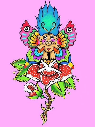 Psychedelic tattoo flash by Who aka whotattooedyou #who #whotattooedyou #color #traditional #newschool #mashup #psychedelic #surreal #surrealism #cute #fun #happy #illustrative