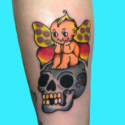Psychedelic tattoo by Who aka whotattooedyou #who #whotattooedyou #color #traditional #newschool #mashup #psychedelic #surreal #surrealism #cute #fun #happy #illustrative #lowerleg #leg #butterfly #skull #kewpie