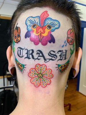 Psychedelic tattoo by Who aka whotattooedyou #who #whotattooedyou #color #traditional #newschool #mashup #psychedelic #surreal #surrealism #cute #fun #happy #illustrative #scalp #head #flower #kewpie #venusflytrap