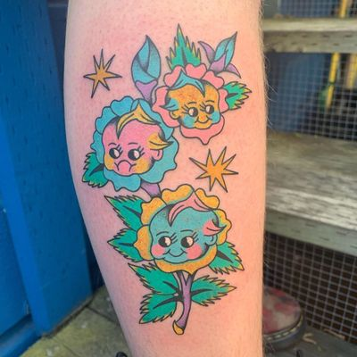 Psychedelic tattoo by Who aka whotattooedyou #who #whotattooedyou #color #traditional #newschool #mashup #psychedelic #surreal #surrealism #cute #fun #happy #illustrative #kewpie #flower #rose #stars #lowerleg #leg