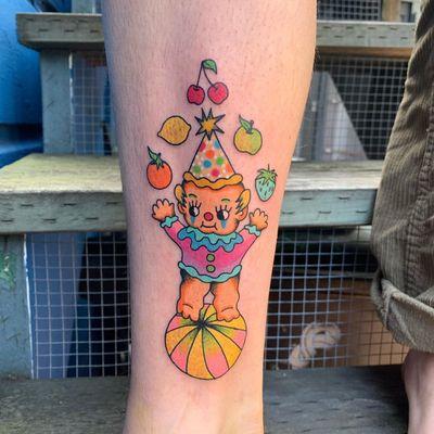 Psychedelic tattoo by Who aka whotattooedyou #who #whotattooedyou #color #traditional #newschool #mashup #psychedelic #surreal #surrealism #cute #fun #happy #illustrative #kewpie #fruits #clown #lowerleg #leg