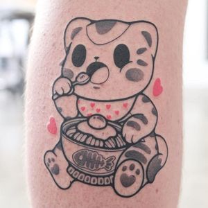 Ramen noodles tattoo by Hugocide #Hugocide #ramentattoos #ramennoodles #noodletattoo #foodtattoo #ramen #Japanese #lowerleg #egg #heart #kitty #cat #cute #anime #manga
