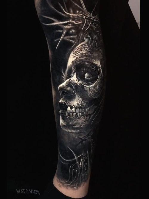 Dark art tattoo by Eliot Kohek #EliotKohek #darkarttattoos #darkart #dark #evil #demon #death #spirit #ghost #evil #blackandgrey #realism #realistic #zombie #skull #lowerleg #leg