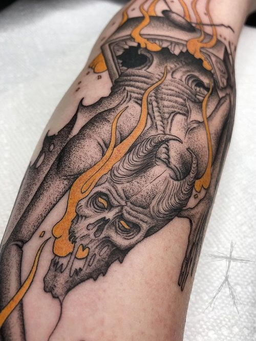 Dark art tattoo by Christopher Jade #ChristopherJade #darkarttattoos #darkart #dark #evil #demon #death #spirit #ghost #evil #tv #television #illustrative #dotwork #forearm #arm