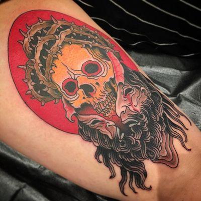 Dark art tattoo by Derek Noble #DerekNoble #darkarttattoos #darkart #dark #evil #demon #death #spirit #ghost #evil #skull #jesus #blood #crownofthorns #upperleg #leg #color