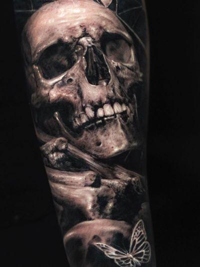 Dark art tattoo by Yomico #Yomico #darkarttattoos #darkart #dark #evil #demon #death #spirit #ghost #evil #blackandgrey #skull #butterfly #realism #realistic #bones