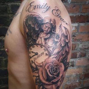 #blackandgreytattoo #angel #tattoos #tattooideas #tattooed #clocktattoo #rose #rosetattoo #uktattoo #wigantattoo #manchestertattoo #tattooinspo #realismtattoo #realistic #tattooed