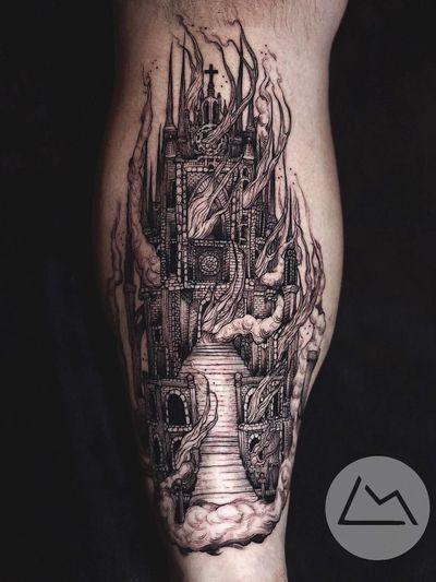 Dark art tattoo by Landon Morgan #LandonMorgan #darkarttattoos #darkart #dark #evil #demon #death #spirit #ghost #evil #lowerleg #leg #illustrative #castle #cathedral #architecture #burningchurch