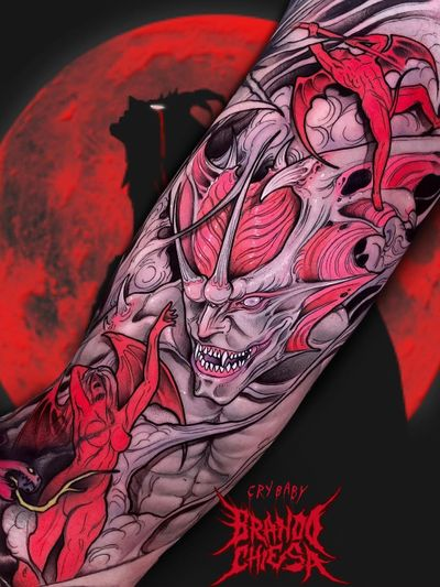 Dark art tattoo by Brando Chiesa #BrandoChiesa #darkarttattoos #darkart #dark #evil #demon #death #spirit #ghost #evil #color #monster #devil #wings #pastelgoth #goth