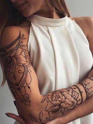 Really diggin these unique shoulder designs. #flower #sleeve #shouldertattoo #mandala #sleeve