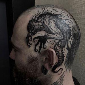 Dark art tattoo by Strange Dust #StrangeDust #darkarttattoos #darkart #dark #evil #demon #death #spirit #ghost #evil #scalp #head #monster #illustrative #blackwork