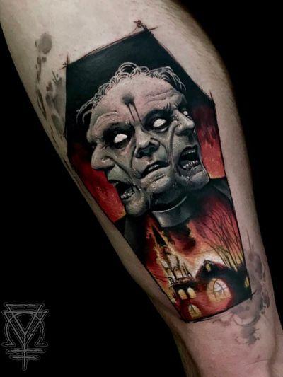 Dark art tattoo by Clod the Ripper #ClodtheRipper #darkarttattoos #darkart #dark #evil #demon #death #spirit #ghost #evil #coffin #preacher #burningchurch #monster #lowerleg #leg #color #realism #realistic