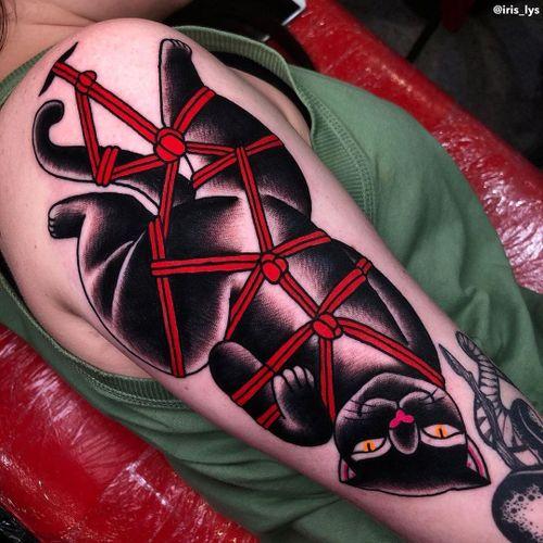 Cat tattoo by Iris Lys #IrisLys #Cattooer #cattattoos #cat #kitty #animal #petportrait #bff #color #traditional #shibari #arm