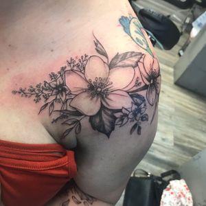Botanical tattoo by #Choze #realism #blackandgrey