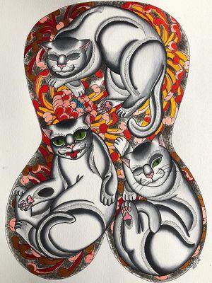 Cat tattoo flash by Iris Lys #IrisLys #Cattooer #cattattoos #cat #kitty #animal #petportrait #bff #color #traditional