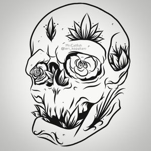 #skull #skulltattoo #flowers #rose #sketch #idea #artist #digitalart #digitaldrawing #digitalartist #art #leaf #ornament #ornamental
