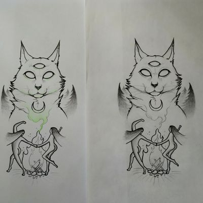 Bocetos #tete #sketch #sketchtattoo #boceto #bocetos #tattoo #tattoos #dontcopy #artist #personaldesign #witchtattoo #witch #witchcraft #cat #forest