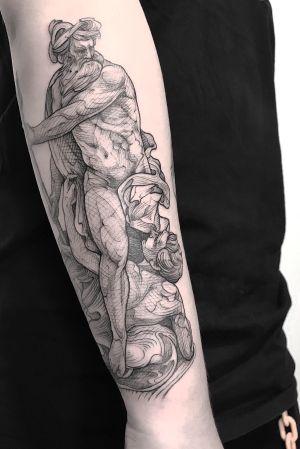 Poseidon #engraving #art #antique #linework #lescrowtattoo