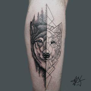 Lobo geometrico #tattoowolf #tatuaje #tattoo #tatu #tatuajelobo #tatuarte #wolf #wolfgeometric