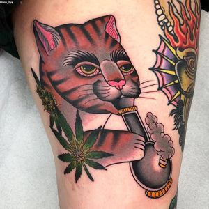 Cat tattoo by Iris Lys #IrisLys #Cattooer #cattattoos #cat #kitty #animal #petportrait #bff #color #traditional #weed #stoner #bong #420 #potleaf #leg