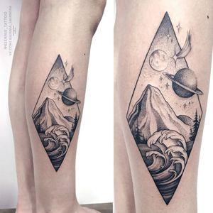 #tattoo #spacetattoo #mountaintattoo #wavetattoo #planettattoo #graphictattoo #geometrictattoo #whipshading #dotwork #ksennie_tattoo