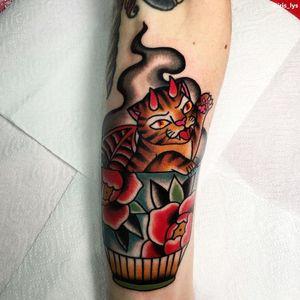 Cat tattoo by Iris Lys #IrisLys #Cattooer #cattattoos #cat #kitty #animal #petportrait #bff #color #traditional #teacup #devil #peony #arm