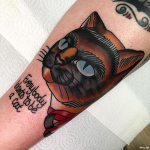 Cat tattoo by Iris Lys #IrisLys #Cattooer #cattattoos #cat #kitty #animal #petportrait #bff #color #traditional #lowerleg #leg
