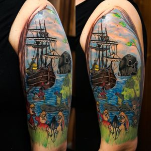 Peter pan 🤓 #colourtattoo #colours #PeterPanTattoo #peterpan #TheLostBoys #pirateship #captainhook #ticktock #neverland #skullrock #skulltattoo