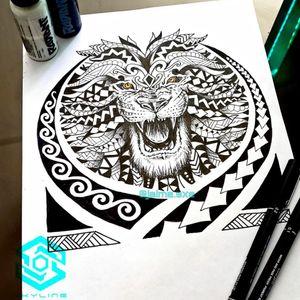 "[TATTOO DESIGN] Composición ""León Polinesio"" Estilo Tribal Polinesio Blackwork Diseño propio Artista: FB/INSTA: @jaime.sxe #SkylineStudio #TattooCoverUp #CreateYourself"