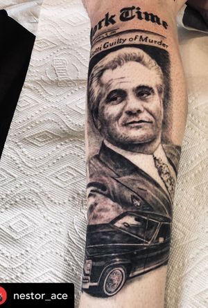 """""""I never lie because I don't fear anyone. You only lie when you're afraid"""" John Gotti - Started this piece yesterday @silverbonestattoo Looking forward to finishing it! #johngotti #notorious #italian #american #gangstermovies #realism #langleybc #burnabybc #coquitlambc #mainst #bogota #vancouver #vancouvertattoo #vancouverlife #vancouverisland #granvilleisland #granvillestreet #westcoast #tatuaje #tatuajes #cadillac"""