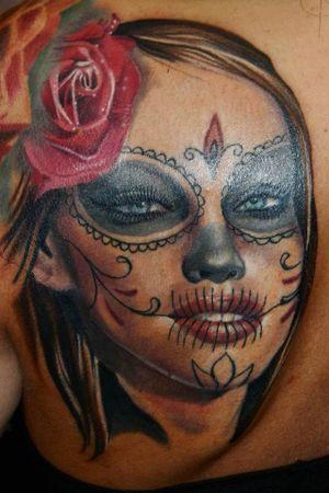 I did it around 7 years ago✌🏻#lacathrina #sugarskull #sugarskullgirl #inkedmag #tattooistartmag #sullenartcollective