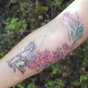 #unicorn #flowerstattoo #botanicaltattoo #horsetattoo #watercolorstattoo #unicorntattoo #HorseTattoos