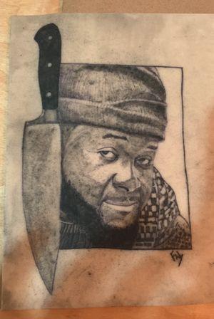 A tattoo of my chef brother . #realisme #blackandgrey #cheftattoo #synthticskin #portait #blackskintsttoo