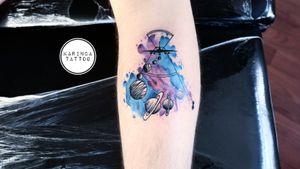 All of them are my works 🖌 Instagram: @karincatattoo #karincatattoo #watercolor #tattoo #tattoos #tattoodesign #tattooartist #tattooer #tattoostudio #tattoolove #ink #tattooed #plane #planet #colortattoo #legtattoo #istanbul #turkey #dövme #dövmeci #moda #specialdesign #space