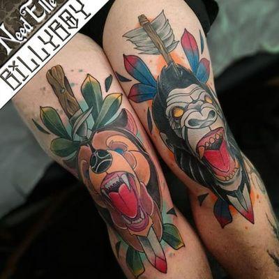 #neo #traditional #tattoist #bear #gorilla #neotraditional #kneetattoo