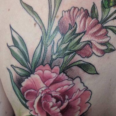 Pink Carnation #flora #Carnation #floraltattoo #flowertattoo #illustrationtattoo #illustrative #naturetattoo