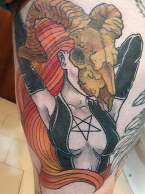 #ladydeath #skulltattoo #pentagram #colortattoo #DeadLady #MetalGirl #skull #satanic #goatskull #ginger #redhair #gaspartattoos