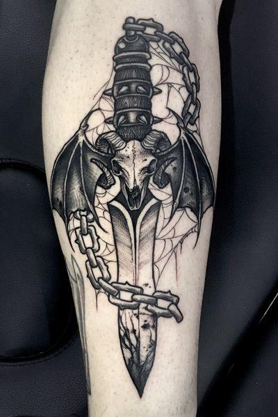 An evil dagger... #dagger #daggertattoo #bat #skull #blackwork