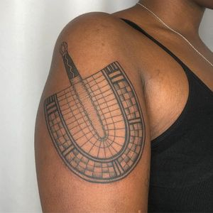 West African Bolga Fan by Tattoo artist Brittany Randell #BrittanyRandell #humblebeetattoo #blackfemaleartist #blacktattooartist #blacktattooer #blacktattoos #poctattoos #poc #torontotattoos #illustrative #linework
