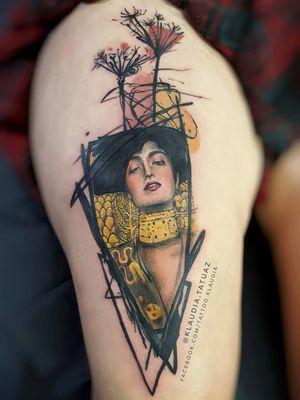 Gustav Klimt tattoo by Klaudia.tatuaz #Klaudia.tatuaz #famouspaintingtattoo #famouspaintings #painting #fineart #art #tattooidea #Klimt #gold #lady #portrait