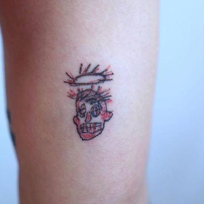 Basquiat tattoo by 0one_tattoo #0one_tattoo #famouspaintingtattoo #famouspaintings #painting #fineart #art #tattooidea #face #illustrative #ignorant