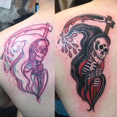 Fun lil freehand reaper #traditionaltattoo #traditional #grimreaper #boldwillhold #freehand #death