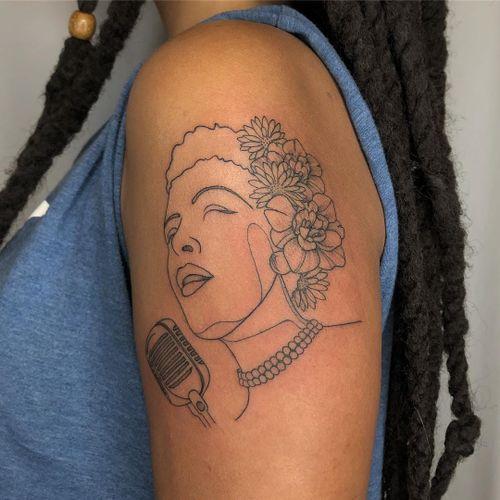 Billie Holiday tattoo by Tattoo artist Brittany Randell #BrittanyRandell #humblebeetattoo #blackfemaleartist #blacktattooartist #blacktattooer #blacktattoos #poctattoos #poc #torontotattoos #illustrative #linework