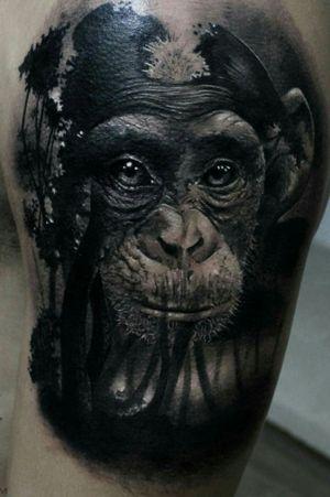 Monkey surreal tattoo black and grey... #OpticalIllusionTattoo #blackandgreytattoo #monkeytattoo #tatuaggiorealistico #tatuaggio #tattooart #tattooblackandgrey #ink #inked #inked4life #art #arte