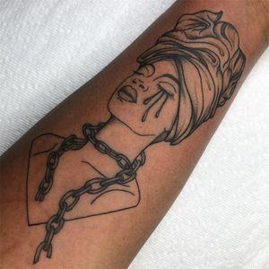 Portrait tattoo by Tattoo artist Brittany Randell #BrittanyRandell #humblebeetattoo #blackfemaleartist #blacktattooartist #blacktattooer #blacktattoos #poctattoos #poc #torontotattoos #illustrative #linework