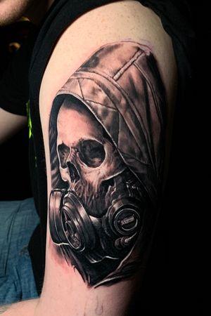 Black and grey , #skull Last Rites