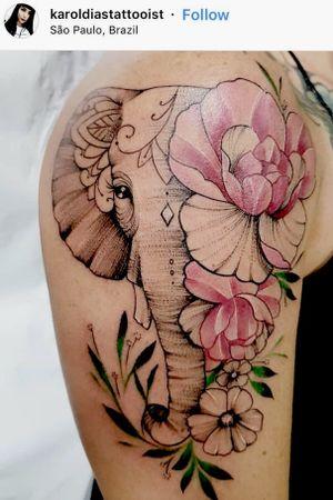 #elephanttattoo #flowertattoo #shouldertattoo #halfsleevetattoo